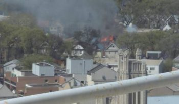 A view of what the blaze looked like from a building downtown.