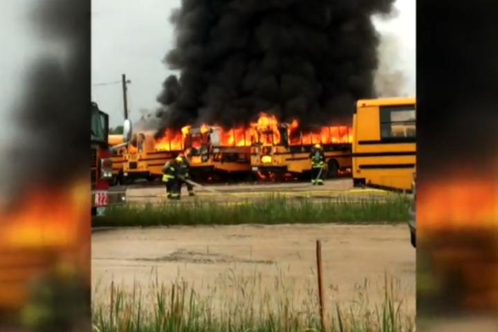 Five school buses burst into flames near St. Mary's Road - Winnipeg