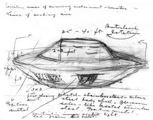 Stefan Michalak's sketch of the UFO he said he saw near Falcon Lake in 1967.
