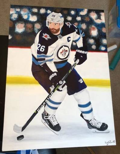 A painting of Winnipeg Jets captain Blake Wheeler by Kylie Pantel.