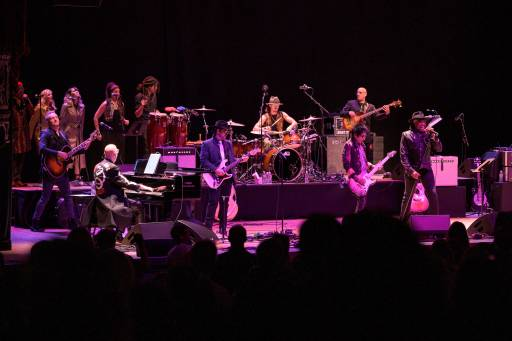 ((L-R) Joe Sumner, Mike Garson, Mark Plati, Lee John, Earl Slick, Carmine Rojas and Bernard Fowler perform during the 'A Bowie Celebration: The David Bowie Alumni Tour' at The Orpheum Theatre on Feb. 7, 2019 in Los Angeles, Calif.