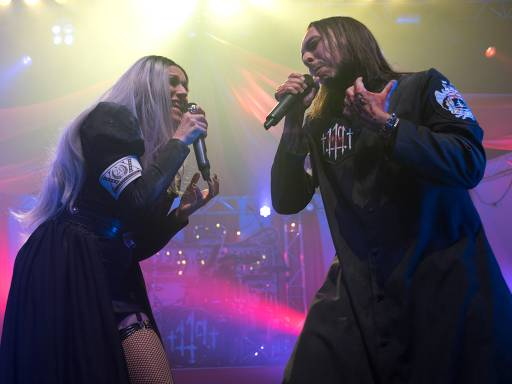 (L-R) Cristina Scabbia and Andrea Ferro of Lacuna Coil are seen live on stage at O2 Forum, London, England on Jan. 19, 2018.