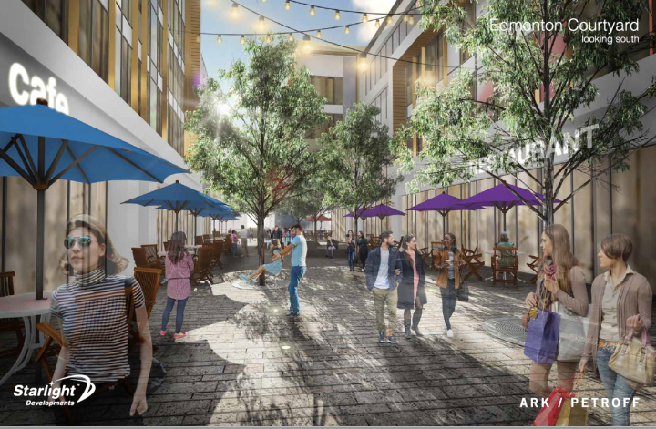 The courtyard at Edmonton Street for the proposed new development at Portage Place.
