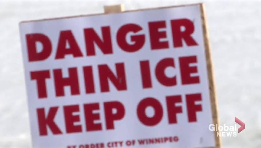 'It isn't safe yet': Trucks fall through the ice on Lake Winnipeg - Winnipeg