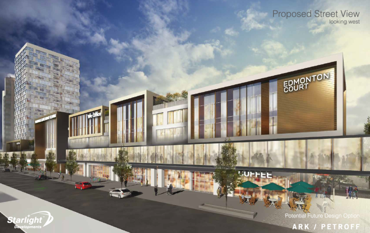 The proposed street view of the new development at Portage Place.