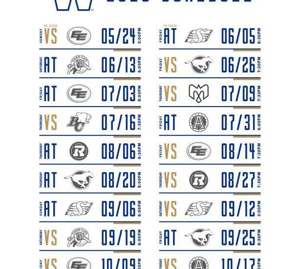 Winnipeg Blue Bombers 2020 schedule