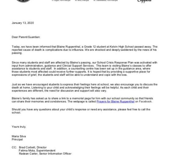 A letter from Kelvin High School about student Blaine Ruppenthal's death.