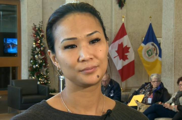 Point Douglas Councillor Vivian Santos speaks to media Monday.