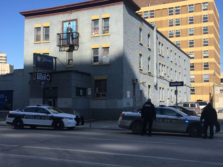 Winnipeg Police on scene outside of the Windsor Hotel