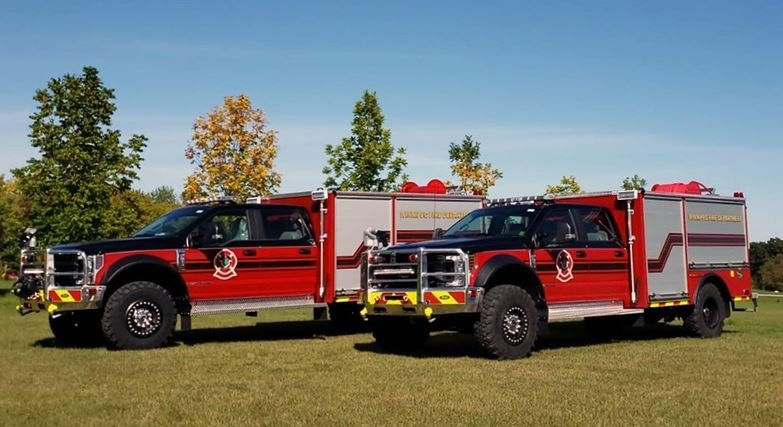 "Specially-designed wildland firefighting apparatuses, nicknamed the ""Bisons,"" owned by the city of Winnipeg."