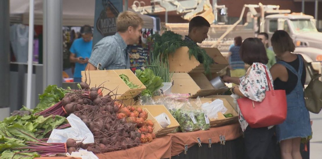 After a five-month hiatus due to the COVID-19 pandemic, the farmers' market in downtown Winnipeg returned Thursday.