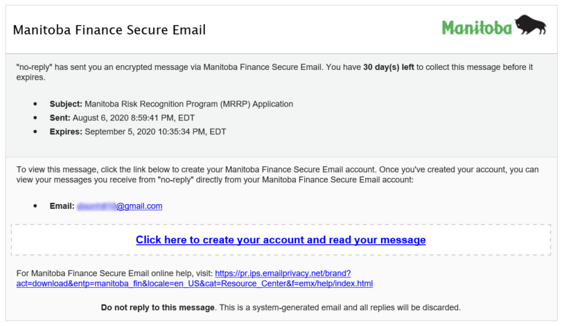 The email sent to a recipient of the Manitoba Risk Recognition Program.