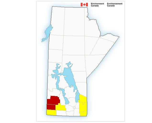 Environment Canada released tornado warnings for southwestern Manitoba Thursday.