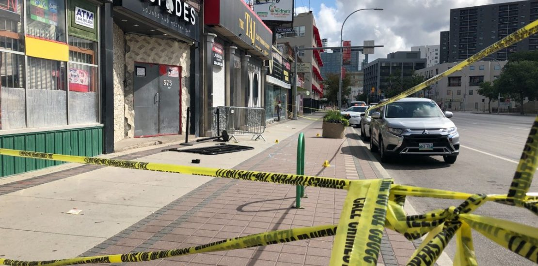 Spades nightclub on Portage Avenue taped off by police tape early Saturday morning.
