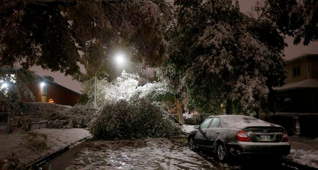 An early winter storm with heavy wet snow caused fallen trees, many on cars, and power lines in Winnipeg early Friday morning, Oct. 11, 2019. THE CANADIAN PRESS/John Woods